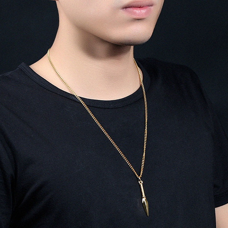 New fashion Spear Pendant Necklaces Men Black Stainless Steel Chain Necklaces For Men Jewelry Gift collier femme collar Chocker 2