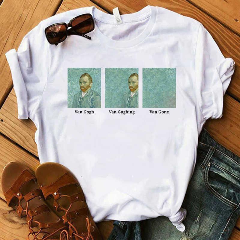 Harajuku Van gogh t shirt Kadın Goghing Van Gitti Tişört büyük boy tee Tops Komik Ünlü Sanat Ayçiçekleri Boyama T-shirt Femme