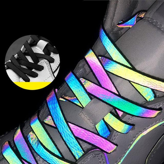 1Pair Trendy Reflective Shoelaces Laser Sequin Shoelace Sneakers Shoes Laces Hot