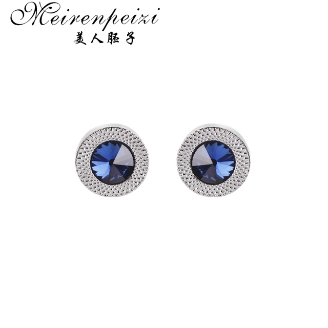 Luxury Cufflinks For Mens Women Blue Zircon Taper Cuff Links Crystal Fashion Brand Cuff Button High Quality Wedding Cuff Links