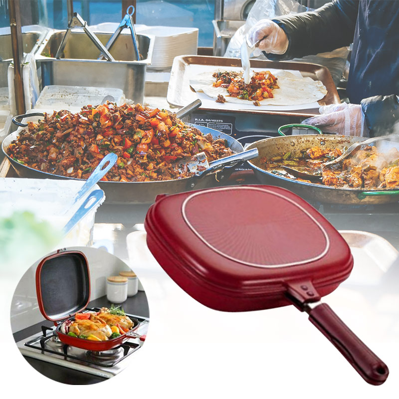 Double-sided Frying Pan Non-stick Baking Tray Portable For Home Kitchen Cooking TT-best