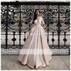 Elegant Satin Wedding Dresses With Pocket Vestidos Noiva Lace Half Sleeves Bridal Gowns 2020 Floor Length Champagne Bride Dress 1