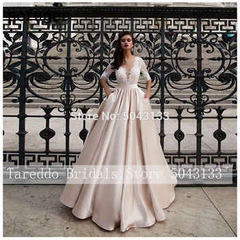 Elegant Satin Wedding Dresses With Pocket Vestidos Noiva Lace Half Sleeves Bridal Gowns 2020 Floor Length Champagne Bride Dress 1