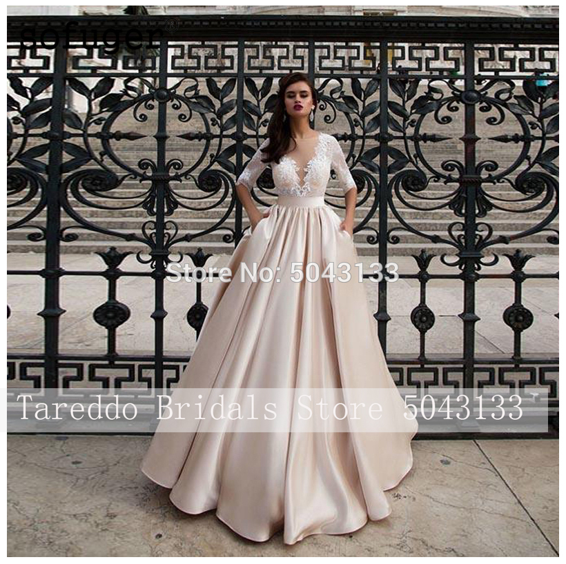 Elegant Satin Wedding Dresses With Pocket Vestidos Noiva Lace Half Sleeves Bridal Gowns 2020 Floor Length Champagne Bride Dress