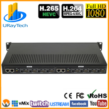 1U Rack HEVC H.265 H.264 HDMI видео поток кодировщик прямая передача HD IPTV кодировщик 8 каналов HDMI к HTTP RTSP RTMP кодировщик