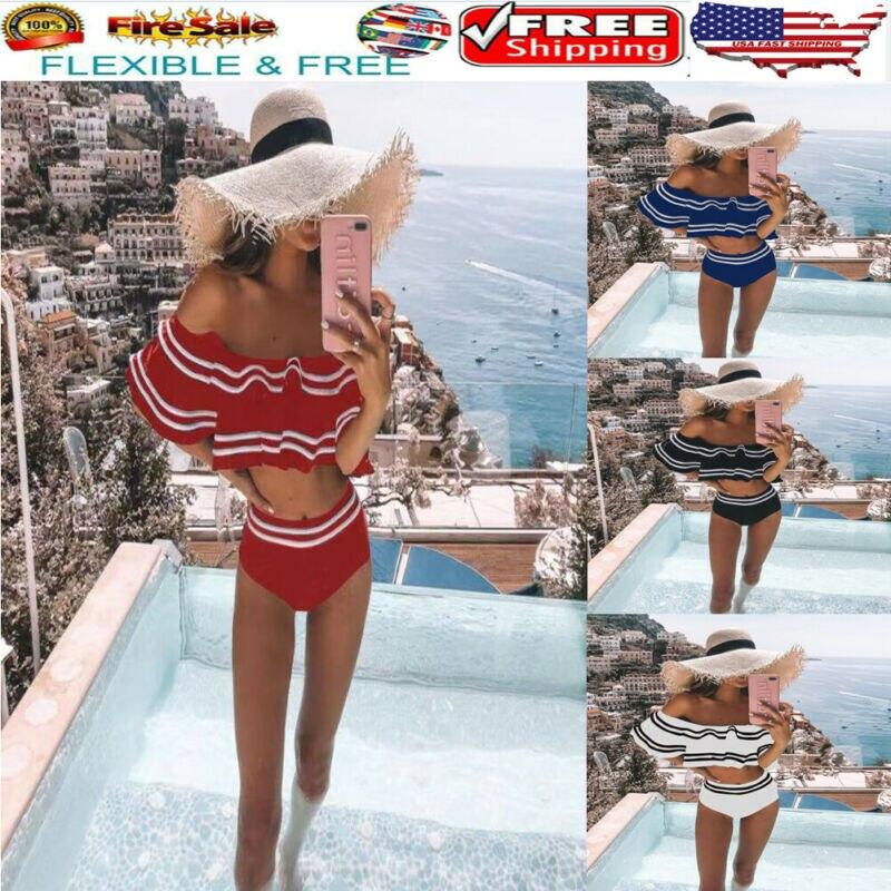 Tankini Swimsuit Bikini-Set Padded-Bra Shoulderless Push-Up Ruffles Sexy Stripes Women