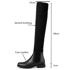 Image 3 - Fashion Women Over The Knee Elastic Boots Kid Suede Slip On Square Heels Waterproof Winter Ladies Motorcycle Shoes Size 34 40