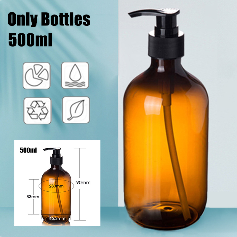 Empty Pump Bottle Amber Plastic 500ml Lotion Pump Bottles Comestic Soap Gel Containers Travel Portable Storage Tool