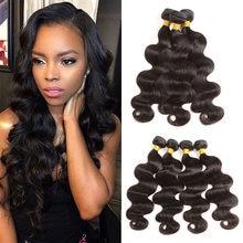 Elees onda do corpo pacotes 30 Polegada pacotes de cabelo humano remy feixes cabelo natural preto qualidade superior braizlian tecer pacotes