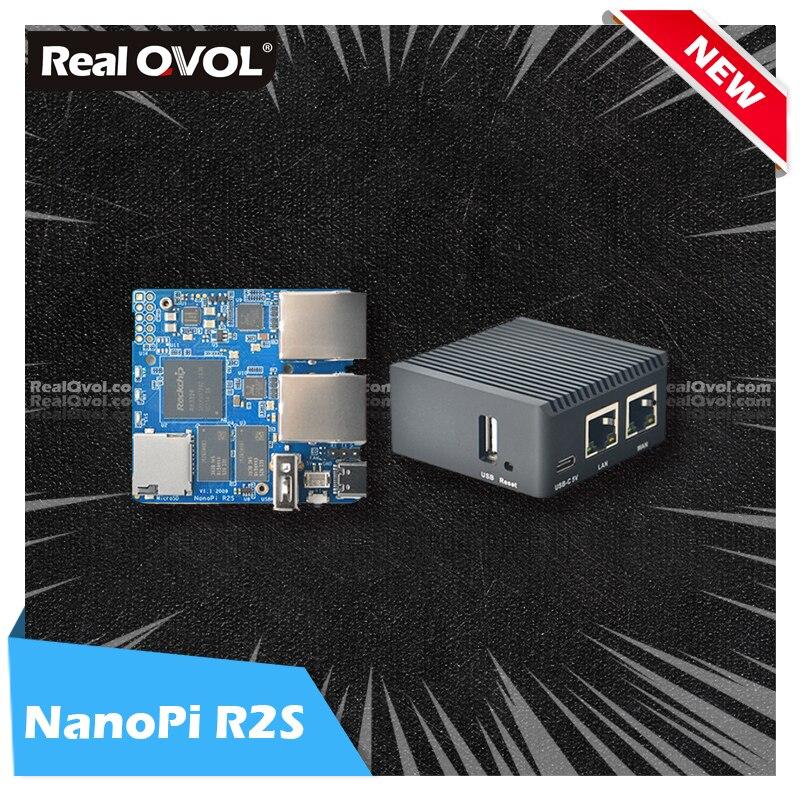 RealQvol FriendlyELEC 2021 новые NanoPi R2S двойные Гбит/с Ethernet шлюзы поддержка OpenWrt LEDE SSR V2ray Linux плата Rockchip RK3328
