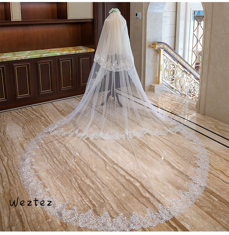 3 Layers White Ivory Cathedral Wedding Veil Long Lace Edge Bridal Veil Silver Sequins Wedding Accessories TS266