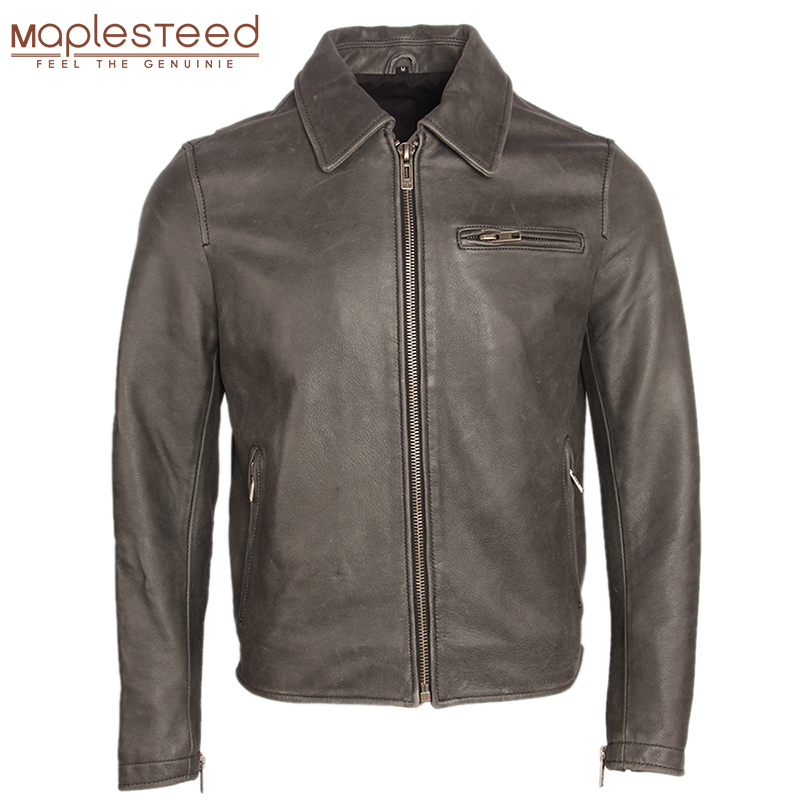 Distressed Leather Jacket Men Vintage Leather Coat Gray 100% Natural Cow Skin Men's Bomber Leather Jackets Autumn Clothing M159