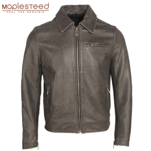 Distressed Leather Jacket Men Vintage Leather Coat Gray 100% Natural Cow Skin Mens Bomber Leather Jackets Autumn Clothing M159