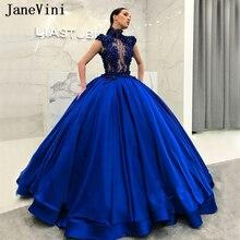 JaneVini muhteşem arap kraliyet mavi uzun Quinceanera elbiseler balo yüksek boyun boncuk dantel kabarık saten balo abiye