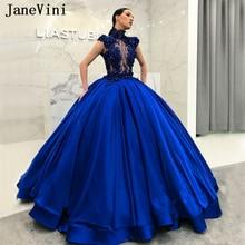 Janevini Splendida Arabo Royal Blue Lungo Abiti Stile Quinceanera Abito di Sfera Collo Alto Che Borda Merletto Vedere Attraverso Puffy Satin Prom Gowns