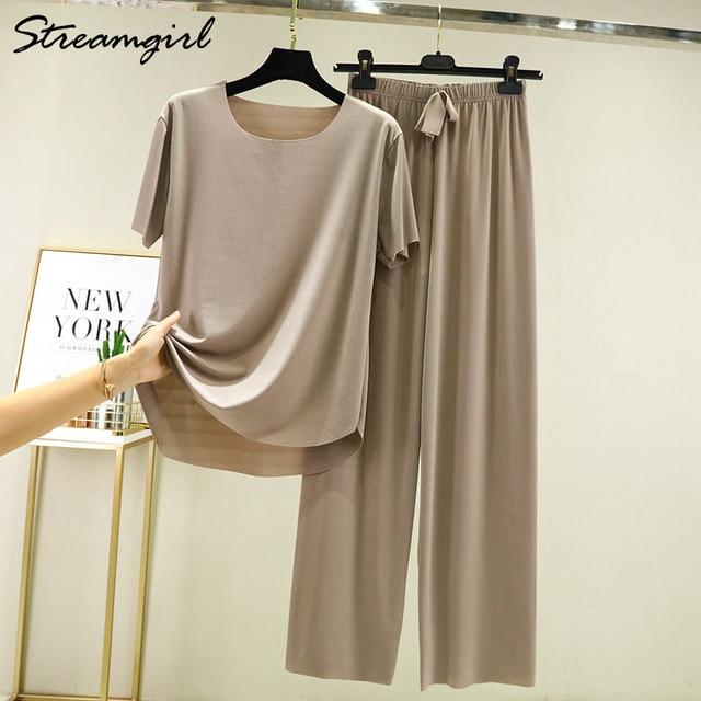 Summer Ice Silk Pants Sets Women Loose T Shirt 2 Piece Wide Leg Pants Woman Soft Ice Silk Pant Suits Summer Sets Womens 2021 2