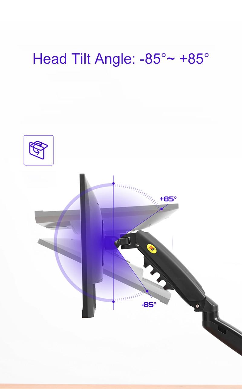New F80 Gas Spring 17-27 inch Desktop LED LCD Monitor Mount Holder Arm Ergonomic Gas Strut Flexi Mount Load 2~9kgs 2