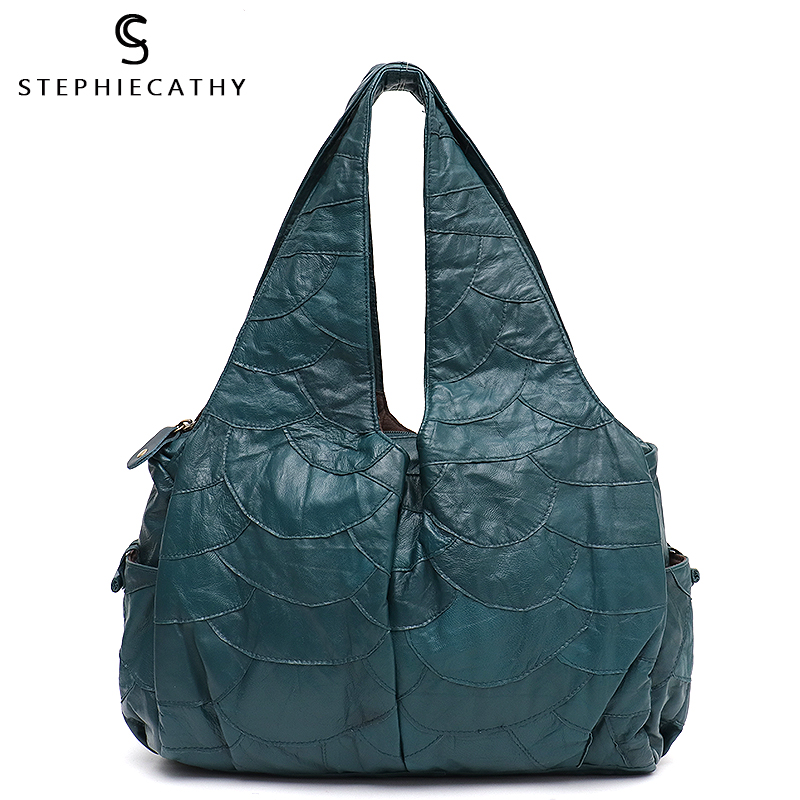 SC Large Leather Shoulder Bag Women Sheepskin Patchwork Hobo Ladies Retro Style Big Handbag Functional Pocket Purse Femal Casual