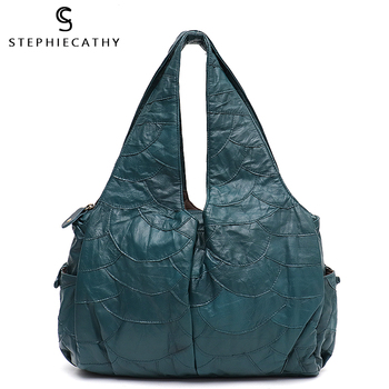 SC Large Leather Shoulder Bag Women Sheepskin Patchwork Hobo Ladies Retro Style Big Handbag Functional Pocket Purse Femal Casual