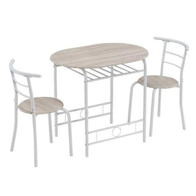 80x53x76cm Oak White Breakfast Table Set  2