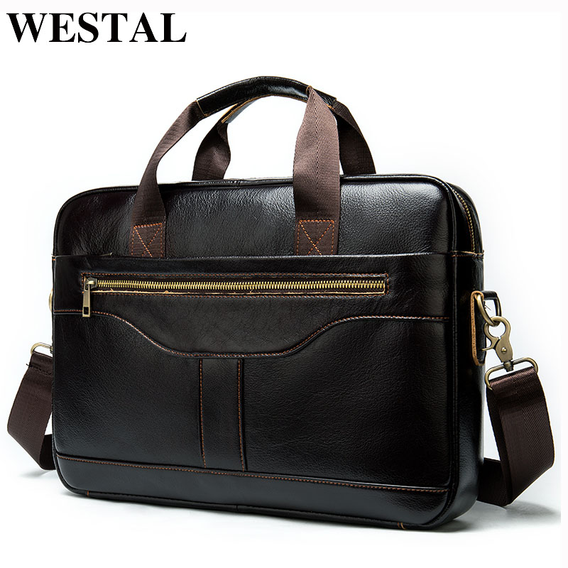WESTAL Men's Briefcase Leather Laptop Bag 14inch Men's Bag Genuine Leather Bag For Documents/office Portable Briefcase Male 8629