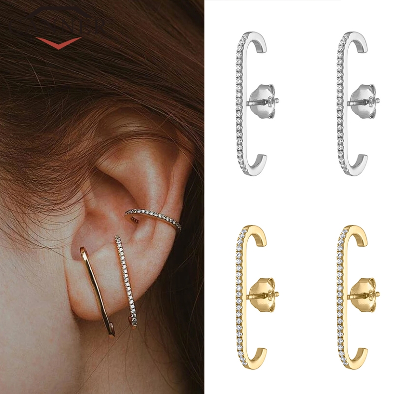 European And American 925 Sterling Silver Earrings Single Row Crystal Zircon Stud Earrings For Gold Silver Color Fashion Jewelry