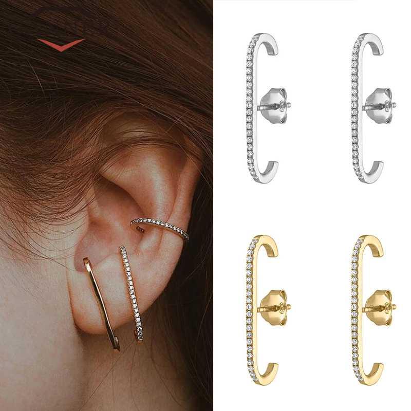 Pendientes europeos y americanos de Plata de Ley 925, pendientes de una sola fila de circonita de cristal para joyería de moda de color dorado y plateado