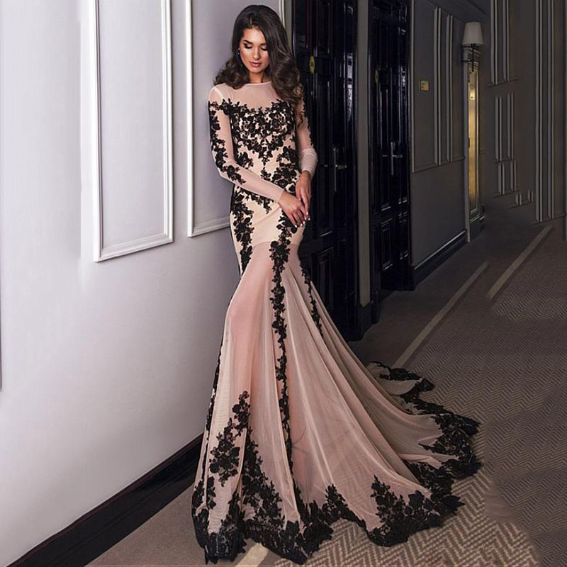 Long Sleeve Mermaid Evening Dresses Lace Appliques Black Lace Formal Dress For Women Custom Made Long Party Gowns Robe De Soiree