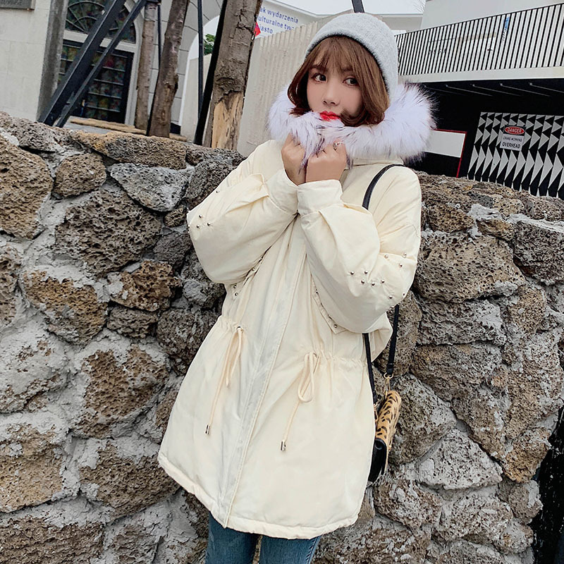 Long Down Jacket Women Winter With Hooded Slim White Duck Down Padded Warm Korean Coat Big Raccoon Fur Collar Women Down Jackets