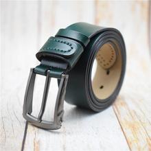 Zachodni pomyślny pas ze skóry bydlęcej mężczyźni zielony niebieski czarny kawy męskie pasy ze sprzączką pasy dla mnie Cummerbunds Leren Riemen tanie tanio WESTERN AUSPICIOUS Dla dorosłych Cowskin Metal CN (pochodzenie) 3 8cm Moda Stałe WAB120 5 5cm men belt belt famous leather belt men