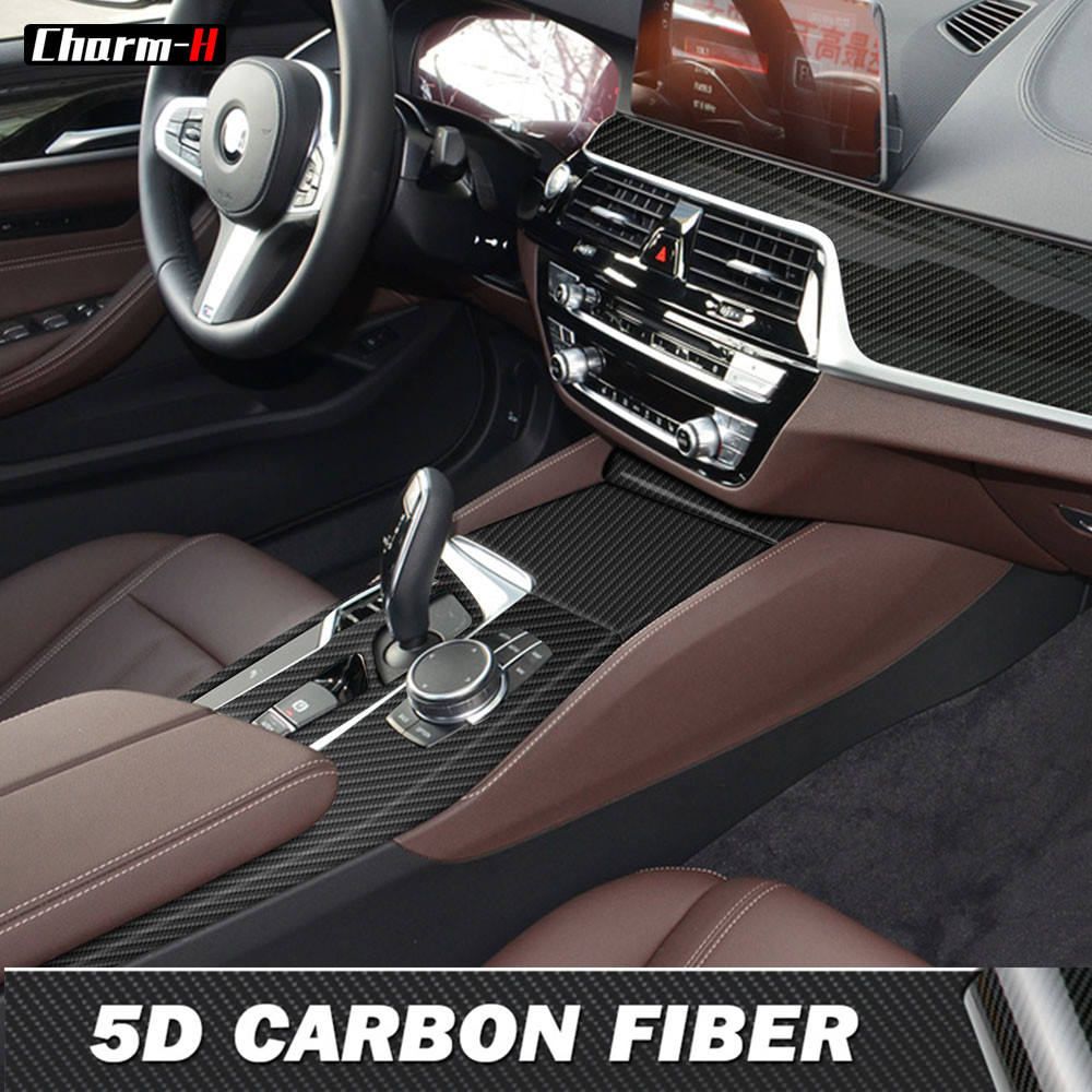 Carbon Fiber Interior Central Control Gear Shift Panel Protection Film Sticker For BMW G30 G31 5 Series LHD Styling Accessories