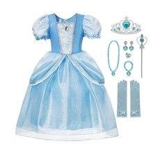 2020 голубая Золушка платье для девочек костюм принцессы без рукавов Выпускной детский наряд для вечерние ринки Косплей Хэллоуин день рожден...