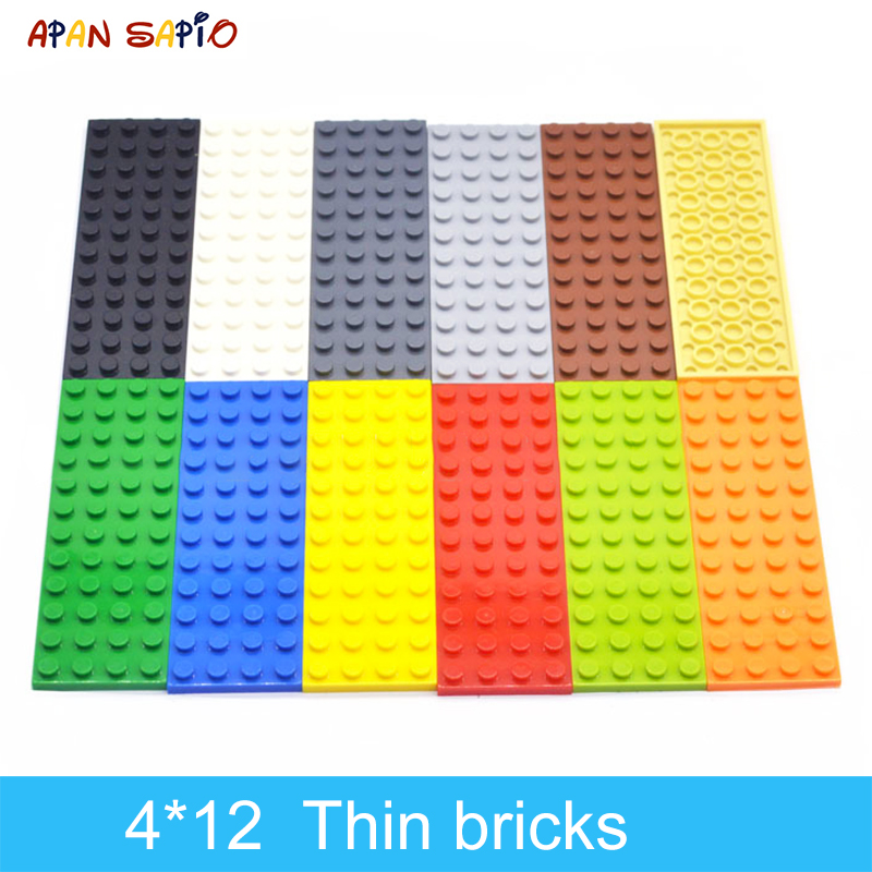 DIY Building Blocks Thin Figures Bricks 4x12 Dots 10PCS Lot 12Color Educational Creative Compatible With Legoe Toys For Children