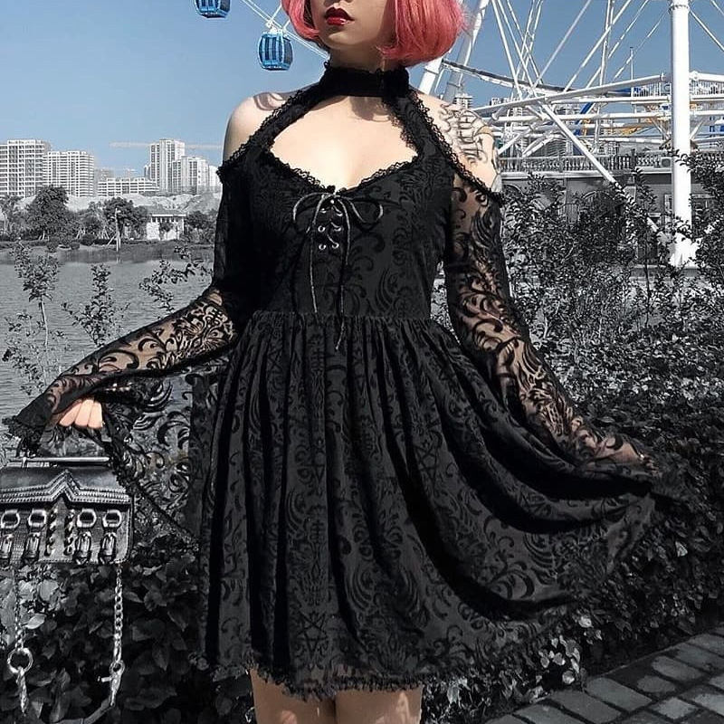 Lolita Dress Dark Style High Waist Halter Neck Sexy Perspective Black Lace Pleated Dress