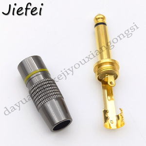 Image 5 - 10 100Pcs New Jack 6.3 Smoothly Gold plating 6.35mm 3 Pole Stereo / 2 Pole Mono Plug Assembly Wire Connector Gunmetal Audio Plug