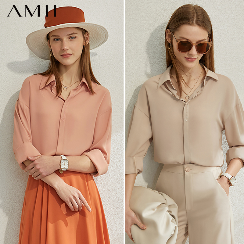AMII Minimalism Spring Summer Basic Solid Shirt Women Causal Lapel Full Sleeves Single-breasted Shirt Tops 12070205