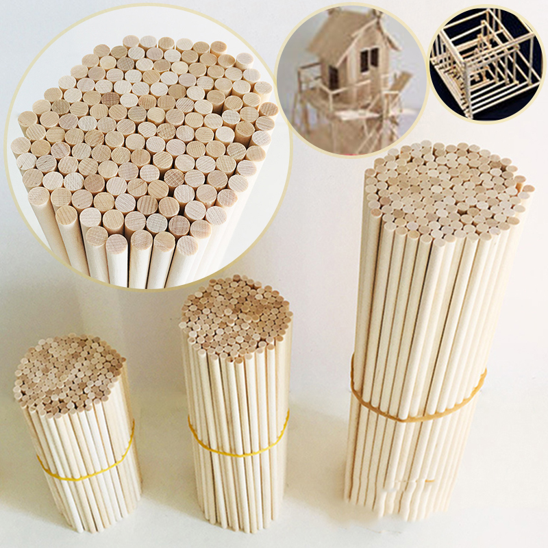 50 Pcs Round Wooden Stick For Crafts Food Ice Lollies And Model Making Cake Dowel For DIY Food Craft Useful Wood For Home Diy