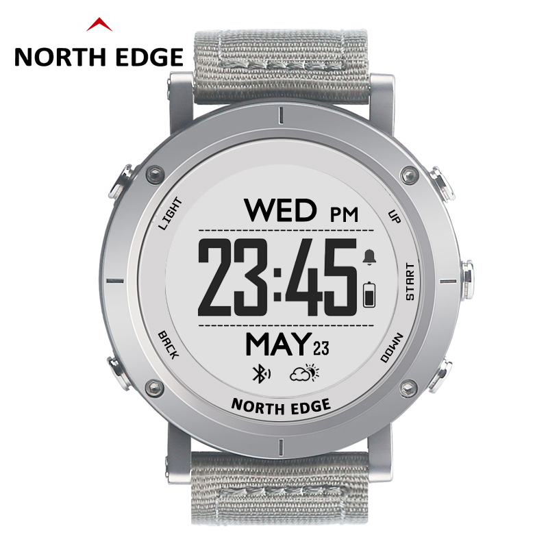 Man outdoor sport digital smart watch waterproof 50m fishing Altimeter Barometer Thermometer Compass GPS Heart Rate NORTH EDGE