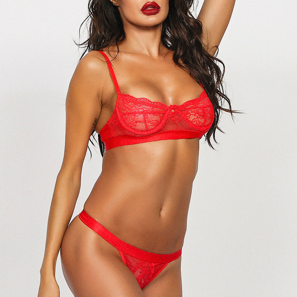 Sexy Lingerie Set Women Transparent Lace Babydoll Open Bra Set Red G-String Underwear Set Nightwear Bra And Panty Sets