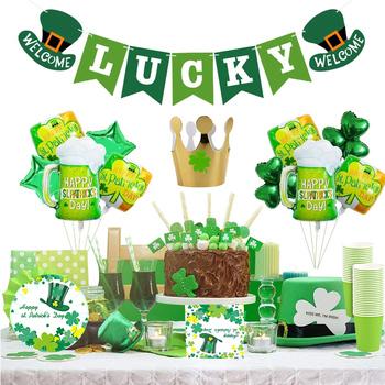 Dekoracje na dzień świętego patryka Lucky Irish Shamrock Banner na dzień świętego patryka z balonami Shamrock Irish Fesitival Party Sup tanie i dobre opinie CN (pochodzenie) Jednolity kolor FOLIA ALUMINIOWA Na imprezę