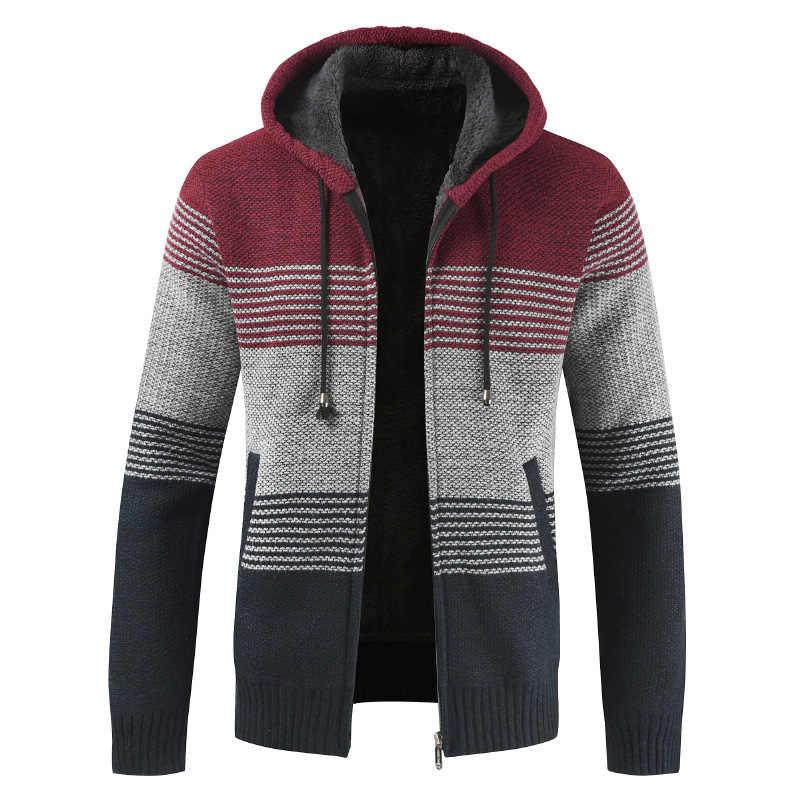 스웨터 코트 남자 2020 겨울 두꺼운 따뜻한 후드 가디건 점퍼 남자 스트라이프 울 라이너 지퍼 양털 코트 남자