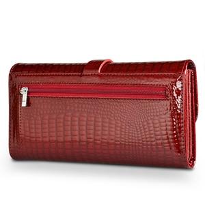 Image 2 - HH 여성 롱 지갑 정품 가죽 지갑 레드 Aligator 패턴 쇠가죽 채찍 지갑 세 배 대용량 클러치 지갑 럭셔리