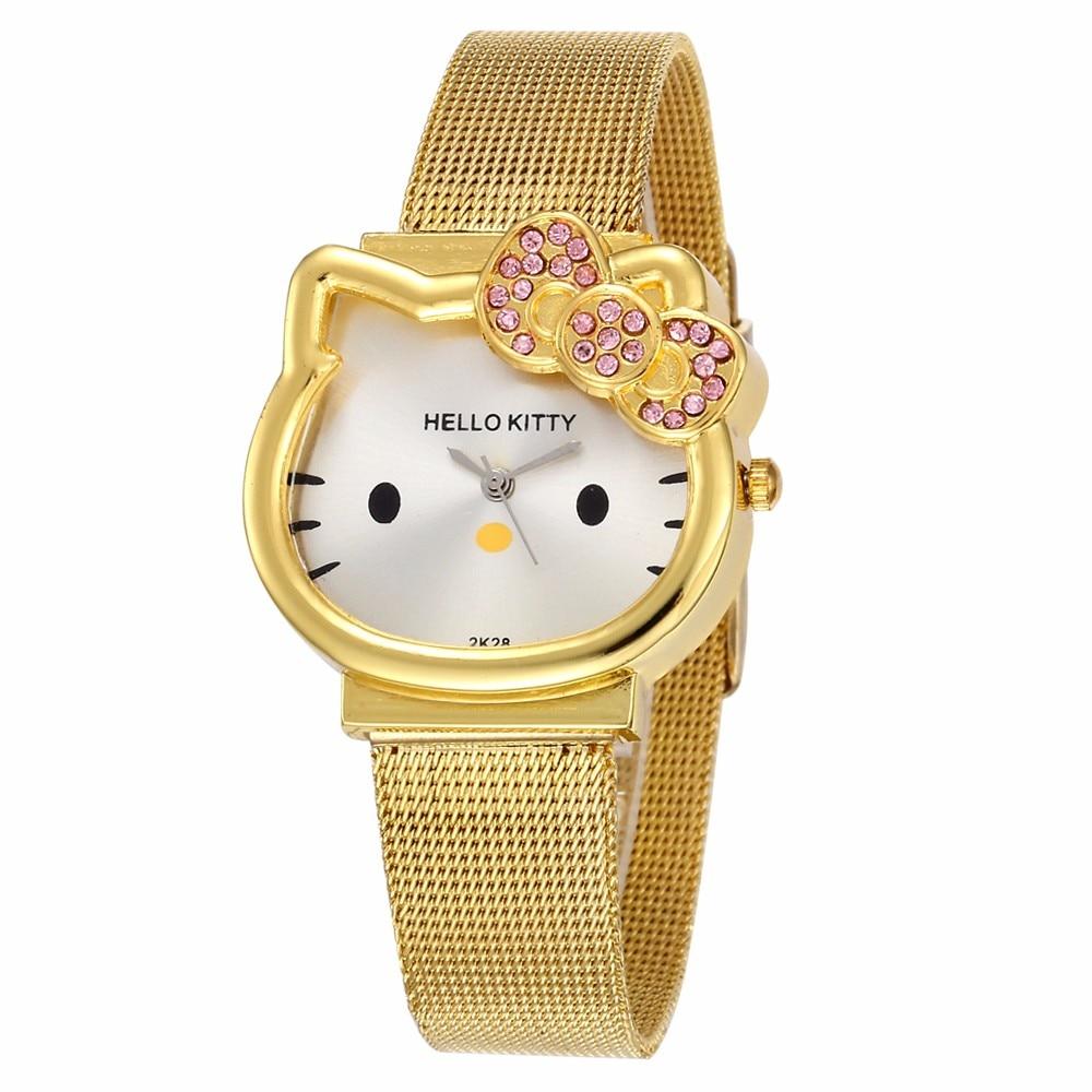 Hello Kitty Women Dress Watch Girls Fashion Cartoon Stainless Steel Mesh Belt Metal Ladies Watch Quartz Clock For Kids Children
