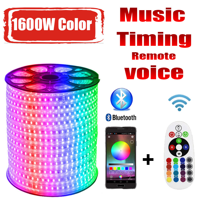 LED Strip 220v RG 1600W Colors <font><b>5050</b></font> RGB Outdoor Waterproof 220 V 10M 20M 100M 200M Remote control LED Strip RGB image