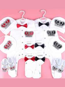Jumpsuit Pajamas-Set Rhinestone Newborn-Baby Boys 0-3-Month Name White Cotton for Crown