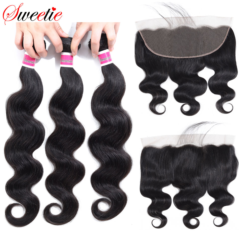 Sweetie Brazilian Body Wave 13X4 Ear To Ear Lace Frontal Closure With Bundles Non Remy Human Hair With Lace Frontal Baby Hair-in 3/4 Bundles with Closure from Hair Extensions & Wigs