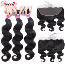 Sweetie Brazilian Body Wave 13X4 Ear To Ear Lace Frontal Closure With Bundles Non Remy Human Hair With Lace Frontal Baby Hair