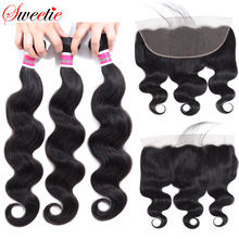 Sweettie – perruque Lace Frontal Closure brésilienne non-remy, cheveux naturels, Body Wave, 13x4, oreille à oreille, avec Baby Hair, en lots