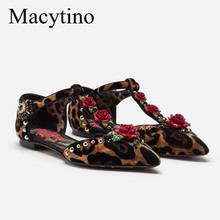 Women Flats Embellished Pointed-Toe Mary Janes Dress-Shoes Flower Leopard Designer New-Arrival