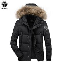 RUELK 2020 zima nowa europejska i amerykańska męska kurtka bawełniana z kapturem gruba wiatroszczelna bawełniana kurtka męska młodzieżowa ciepła męska Top tanie tanio Poliester REGULAR STANDARD Coat Suknem zipper Kieszenie Stałe Na co dzień Black Winter Casual Polyester 16-60Age